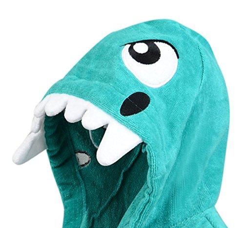 con verde per dinosauro velluto cotone 100 bambini Accappatoio wTx8U