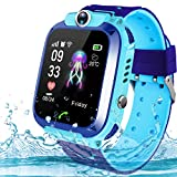 Kids Smartwatch Phone,AMENON IP67 Waterproof GPS Tracker for Children Boys Girls Fitness Tracker with SIM Card Slot SOS Call Camera Game Alarm Clock Sport Smart Watch for Holiday Birthday Gifts (Blue)