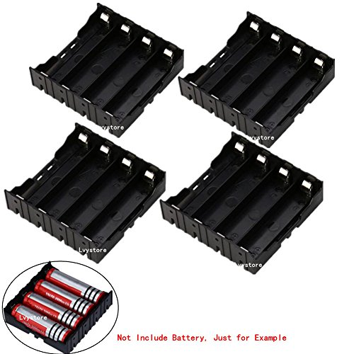 (18650 Battery Case Holder, 4 Pcs 4 Slots x 3.7V DIY Battery Storage Box, in Parallel Black Plastic Batteries Case with Pin for Soldering 4 x 18650, by Ltvystore)