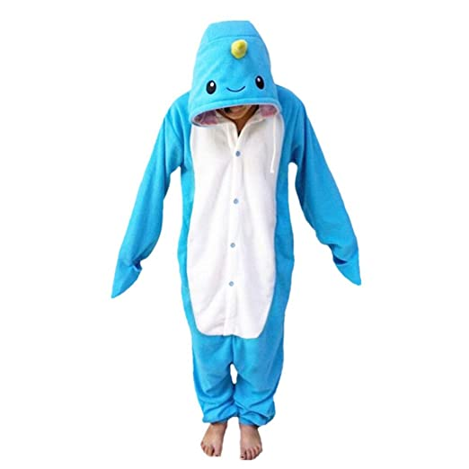 WOTOGOLD Animal Cosplay Costume Unisex Adult Narwhal Pajamas Blue