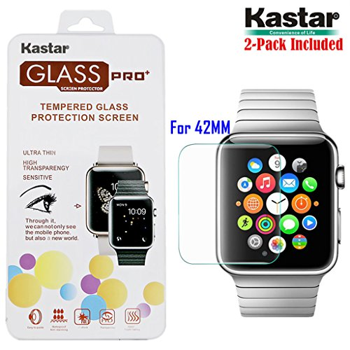 kastar-iwatch-42mm-screen-protector-2-pack-premium-tempered-crystal-clear-glass-screen-protector-for