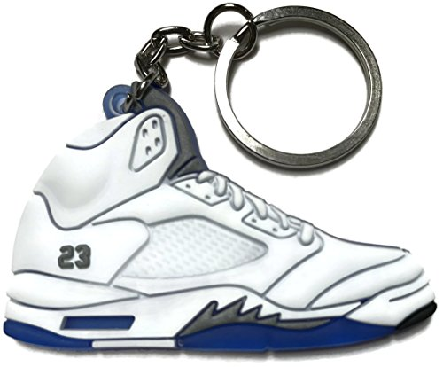 WetheFounders Air Jordan Retro 5 White Blue Gray Shoe Keychain Collectable from Wethefounders