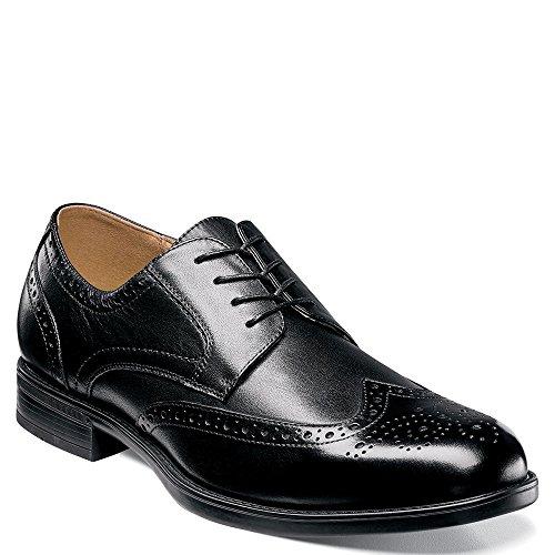 Florsheim Men's Midtown Wingtip Oxford,Black Smooth Leather,US 10.5 D