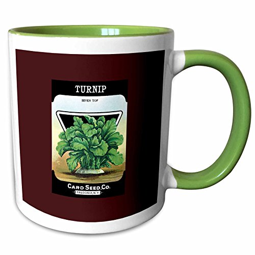 (3dRose BLN Vintage Seed Packet Reproductions - Turnip Seven Top Card Seed Company Vegetable Seed Packet - 15oz Two-Tone Green Mug (mug_170951_12))