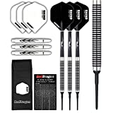 PEGASUS SOFT TIP DARTS SET - 18g or 20g - Black Winmau flights, Black Shafts, Wallet & Red Dragon Checkout Card