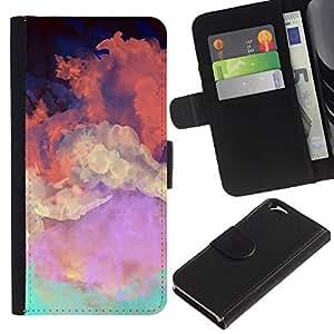 For Apple Apple iPhone 6(4.7 inches),S-type® Sky Painting Colorful Art Orange Clouds - Dibujo PU billetera de cuero Funda Case Caso de la piel de la bolsa protectora