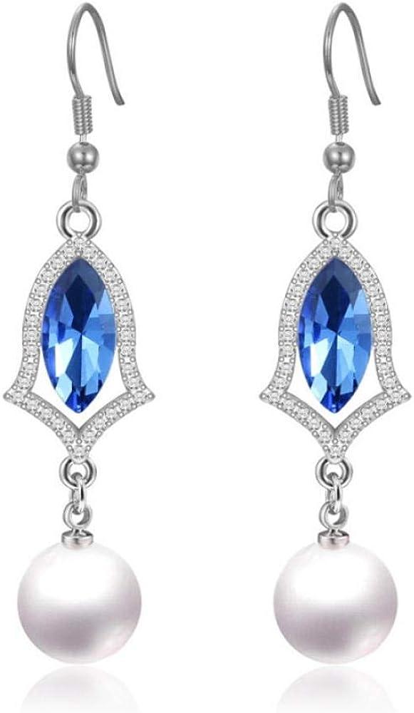 Pendiente Pendientes de perlas de plata 925 de moda con forma ovalada Pendientes de gota de piedras preciosas rojas azules verdes para bodas femeninas Regalos de fiesta Joyas