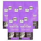 World's Best Cat Litter Lavender Scented Multiple Cat Clumping Formula, 15 lb, 5 Pack
