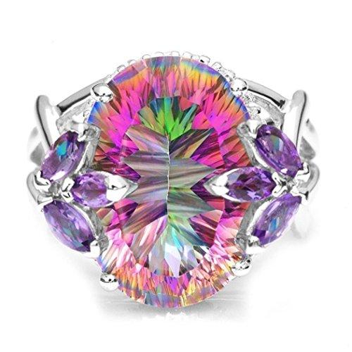 KaiKBax Luxury Pure Natural Mystery Rainbow Yellow Jade Jewel Crystal Princess Cut Diamond Wedding Ring Multicolor (Jade Diamond Jewel)