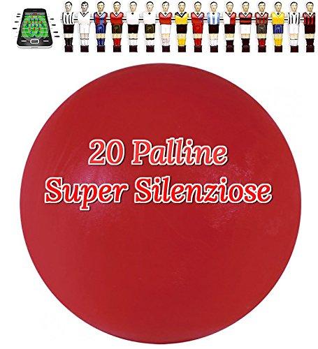Renzline by Longoni Calcio Balilla 20 Palline Super Silenziose rosse confezione nostra cura. Mescola specifica per attutire il rumore del colpo