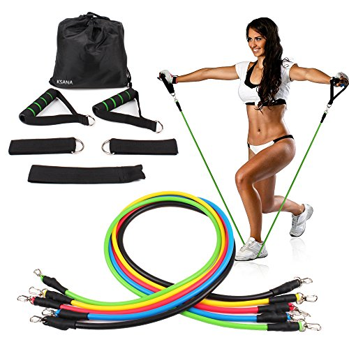 KSANA Resistance Bands 11pc Set With Handles Door Anchor Ankle Strap for Legs Workout Fitness Pilates Yoga Exercise Strength Training