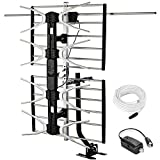 pingbingding Outdoor Digital HD TV Antenna with High Gain Amplifier 150 Mile Long Range for UHF/VHF, Mounting Pole, 40FT RG6 Coaxial Cable, Easy Installation