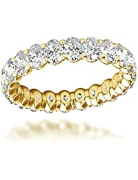 Ladies 18K Gold Oval Cut Diamond Anniversary Ring Eternity Band 3ct G-H Color by Luxurman
