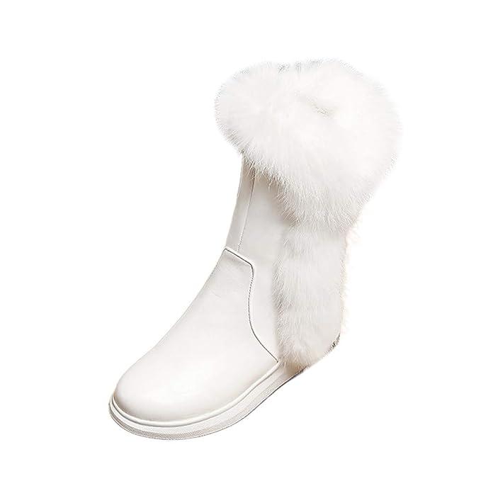 Botas de Nieve para Mujer, Cremalleras Laterales de Round Head Slope Fashion para