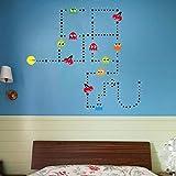Pac-Man Game Wall Decal Cartoon Sticker Kids Bedroom Nursery Room Removable Wall Decor Murals