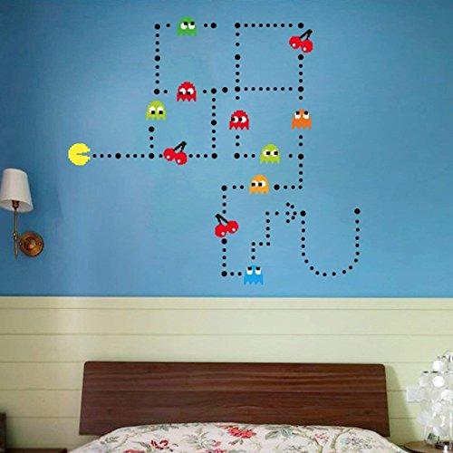 Pac-Man Game Wall Decal Cartoon Sticker Kids Bedroom Nursery Room Removable Wall Decor -