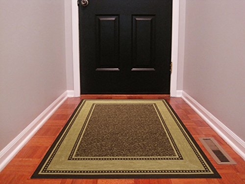 - Ottomanson Ottohome Collection Contemporary Bordered Design Modern Area Rug with Non-Skid (Non-Slip) Rubber Backing, 3'3