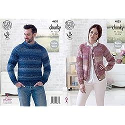 King Cole Chunky Knitting Pattern Easy Knit Raglan Sleeve Mens Sweater & Womens Cardigan (4632)