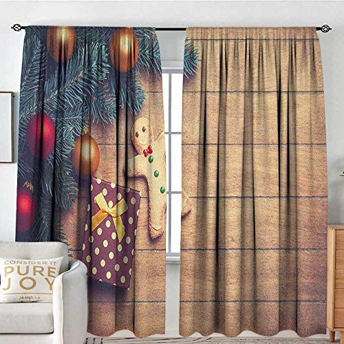 (Living Room Curtains Gingerbread Man,Pine Branches Delicious Cookie and Present on Wood Planks, Pale Brown Hunter Green Red,All Season Thermal Insulated Solid Room Drapes 54