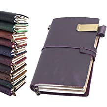 """Leather Journal, Handmade Vintage Refillable Travel Diary Writing Notebook Gift for Men & Women 8.7""""x4.7"""" Purple"""