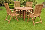 Grade-A Teak Wood 4 Seater 5 Pc Dining Set: 48″ Round Table And 4 Marley Reclining Arm Chairs #WFDSMR1 Review