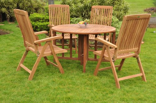 Grade-A Teak Wood 4 Seater 5 Pc Dining Set: 48″ Round Table And 4 Marley Reclining Arm Chairs #WFDSMR1 For Sale