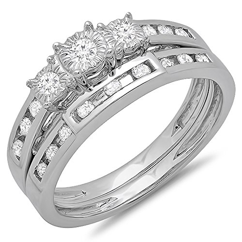 0.40 Carat (ctw) 10k White Gold Round Diamond Ladies 3 Stone Bridal Engagement Ring Set