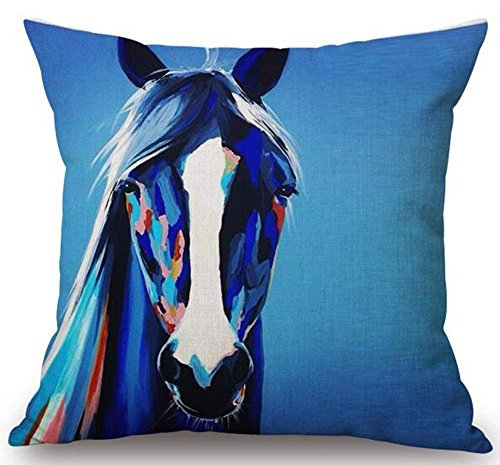 Oil Painting Horse Hand Painted Throw Pillow Case Cotton Blend Linen Cushion Cover Sofa Decorative Square 18 Inches(3) -