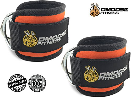 DMoose Fitness Strong Velcro, Double D-Ring Neoprene Ankle Straps for Cable Machines, Pair - Orange - Cuff Pull