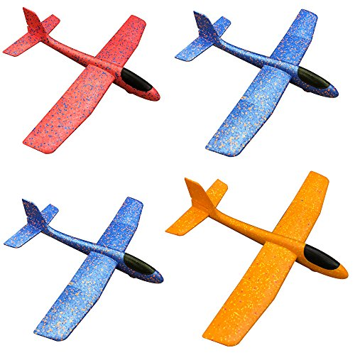 Flying Toys Foam Throwing Glider Air Plane Toy Plan Model Outdoor Sports Toy for Kids Pack of 4(18.8inch) by YAKEF