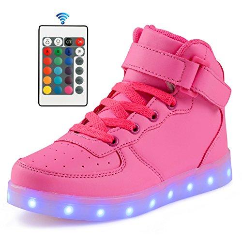 Affinest Adulte 16 Couleurs Led Lumière Chaussures Haut Haut Sneakers De Mode Pour Hommes Femmes (41, Rose)