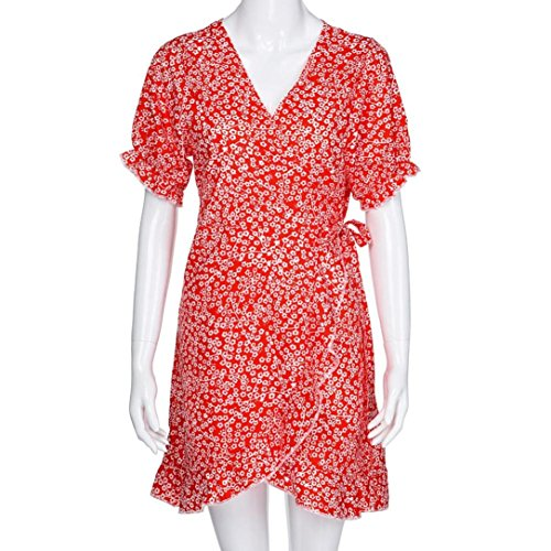 D'T Chic en Femmes Manches Robe Imprim Skirt Mini Rouge Ruffled VJGOAL Dress Courtes Floral V Robe Beach Quotidienne Col qSnPF