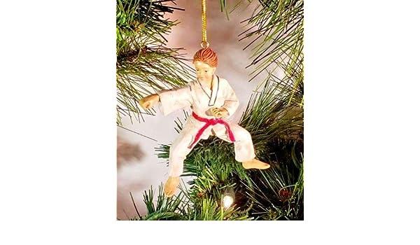 "*SAMPLE SALE* KARATE BOY RESIN CHRISTMAS ORNAMENT 4/"" WH5"