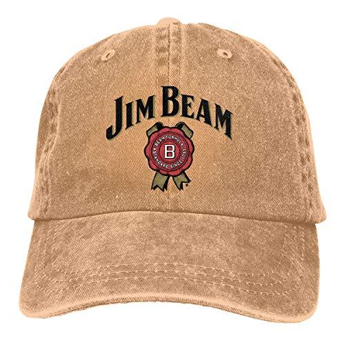 TYMOFII80 Adjustable Baseball Cap Jim Beam B Peaked Dyed Cap Washed Cotton Denim Dad Hat
