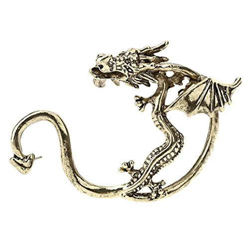 Winter's Secret Gothic Style Three-dimensional Domineering Dragon Pattern Single Left Stud Earring Bronze