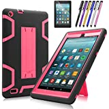 Fire 7 2017 Case, Mignova Heavy Duty Hybrid Protective Case Build in Kickstand for All-New Fire 7 Tablet (7th Generation 2017 Release) + Screen Protector Film and Stylus Pen (Black/Pink)