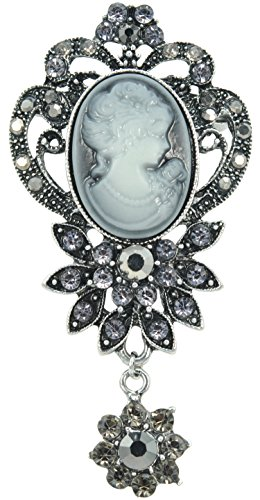 Cameo Flower Pin Brooch (Gyn&Joy Vintage Inspired Victorian Girls Crystal Rhinestone Cameo Maiden Flower Pin Brooch)