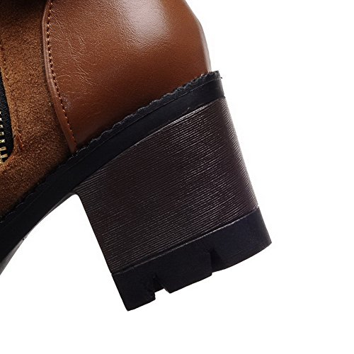 Round Kitten Boots Toe Materials Women's Closed Heels Blend Solid Zipper Brown AgooLar q7U0I