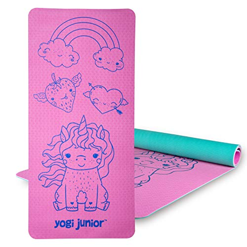Yogi Junior Kids Yoga Mat - PVC Free - Double Layered TPE Foam (Pink)