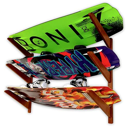 StoreYourBoard Timber Wakeboard Storage Rack, Holds up to 3 Wakeboards and Wakesurf Boards
