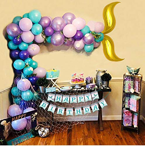 Mermaid Balloon Garland Arch Kit 122Pcs 16ft Long Gold Foil Tail Balloons and Birthday Banner Party Centerpiece Decorations for Girls Kids -