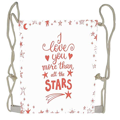 WATINCFlagHomegg Quote of Infatuation Surrounded by Stars Scribble Art for Valentines Beutiful Prints Packable Print Drawstring Bags Travel Backpack Bags For Gift ()