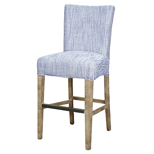 New Pacific Direct 268527-637-N Milton Fabric Counter Stool Furniture, Blue Stripes