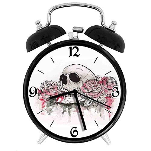 luckboy-ZM of Skull Dead with Romantic Roses Celebration Day Festive Desk Clock Home Unique Decorative Alarm Ring Clock 4in