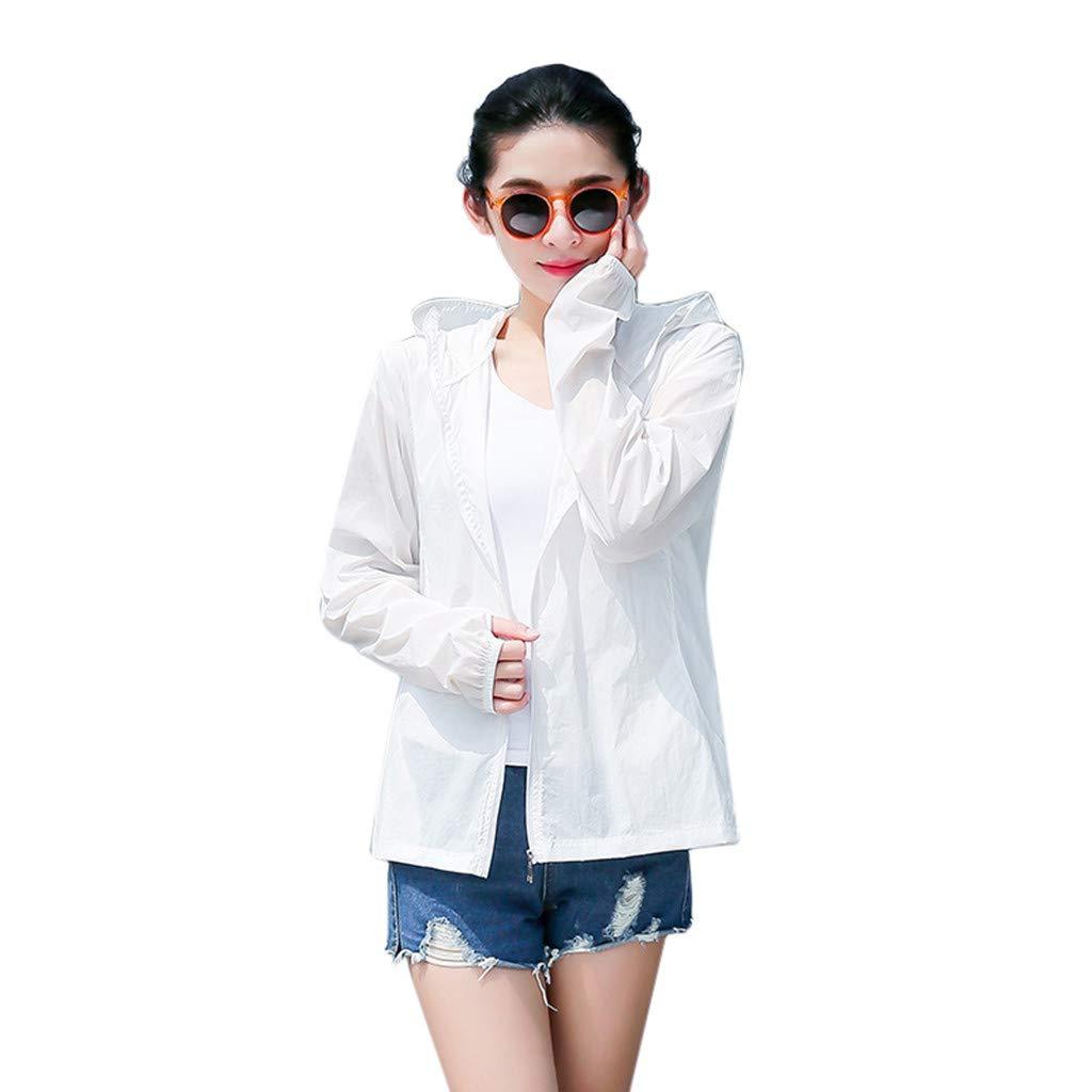 VEZARON Women's Lightweight Jacket UV Protect+Quick Dry Windproof Skin Coat Summer Outdoor Sun Protection Full & Half Zip Front Long Sleeve Cloth (XXXL, White)