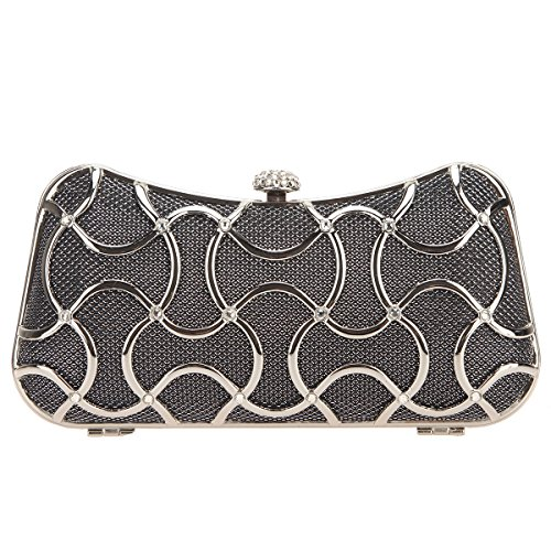 Handle Black Evening Gris Bonjanvye For Bags With Metal Clutch Women AqxUHfw