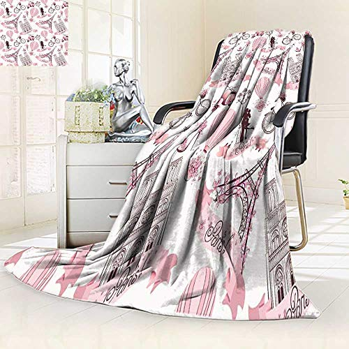 YOYI-HOME Soft Plush Warm Duplex Printed Blanket Autumn WinterPapel De Parede Paris Rosa Menina Infantil Rolo for Anyone You love/59 W by 86.5