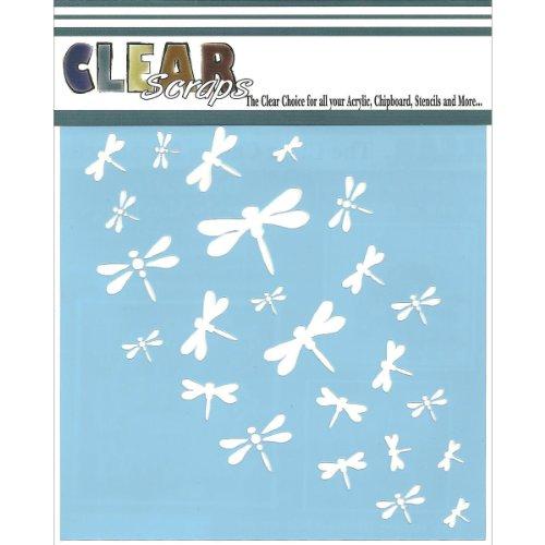 Dragonfly Stencil (Clear Scraps CSSM6-DRAGN Translucent Plastic Film Stencil, Dragonfly Wall, 6-Inch x 6-Inch)