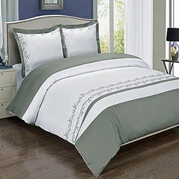8pcs Full size Bed in a bag Embroidered Amalia Grey & White duvet set Including Cotton 3pcs Duvet cover set+ 4pcs Full sheet set+ 1pc Full/Queen Down Alternative comforter