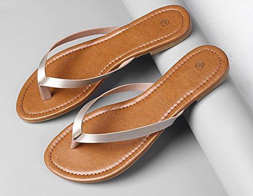 wealsex Tongs Plates PU Cuir Femmes Chaussures Sandales Flip Flop Plage Piscine Simple Classique Grande Taille 40 41 Or w4mPB